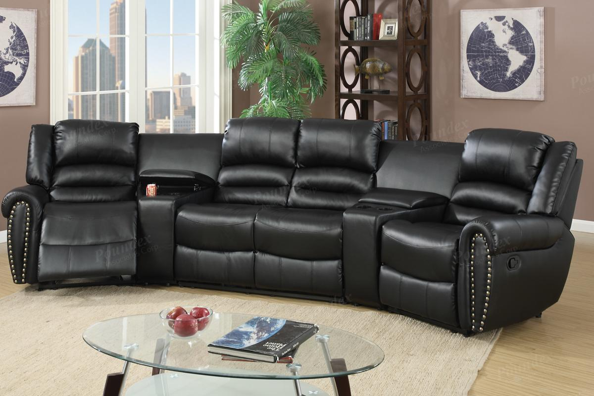 Black Leather Reclining Sectional Steal A Sofa Furniture