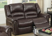 Malta Brown Leather Reclining Loveseat