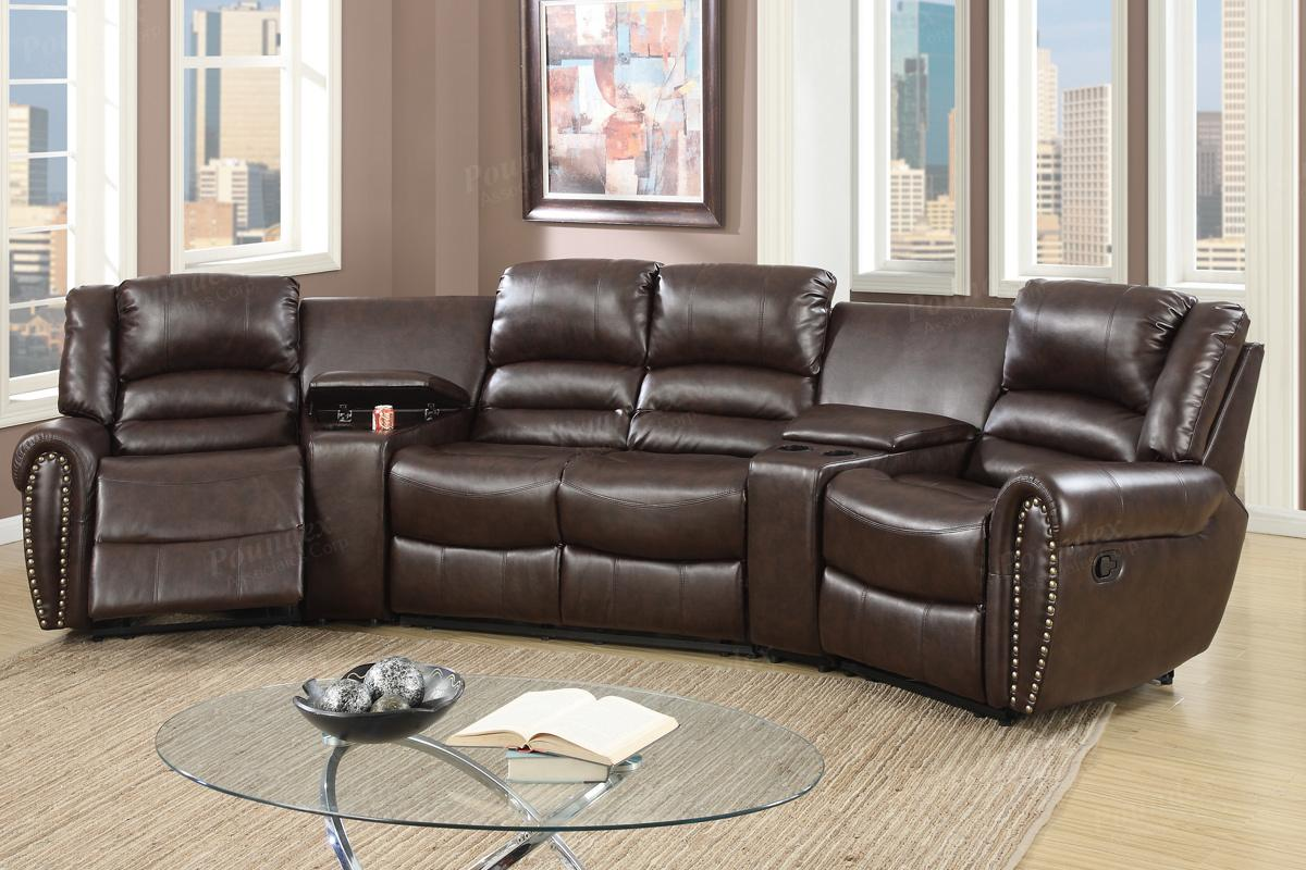 Brown leather reclining sectional steal a sofa furniture for Sectional sofa with a recliner