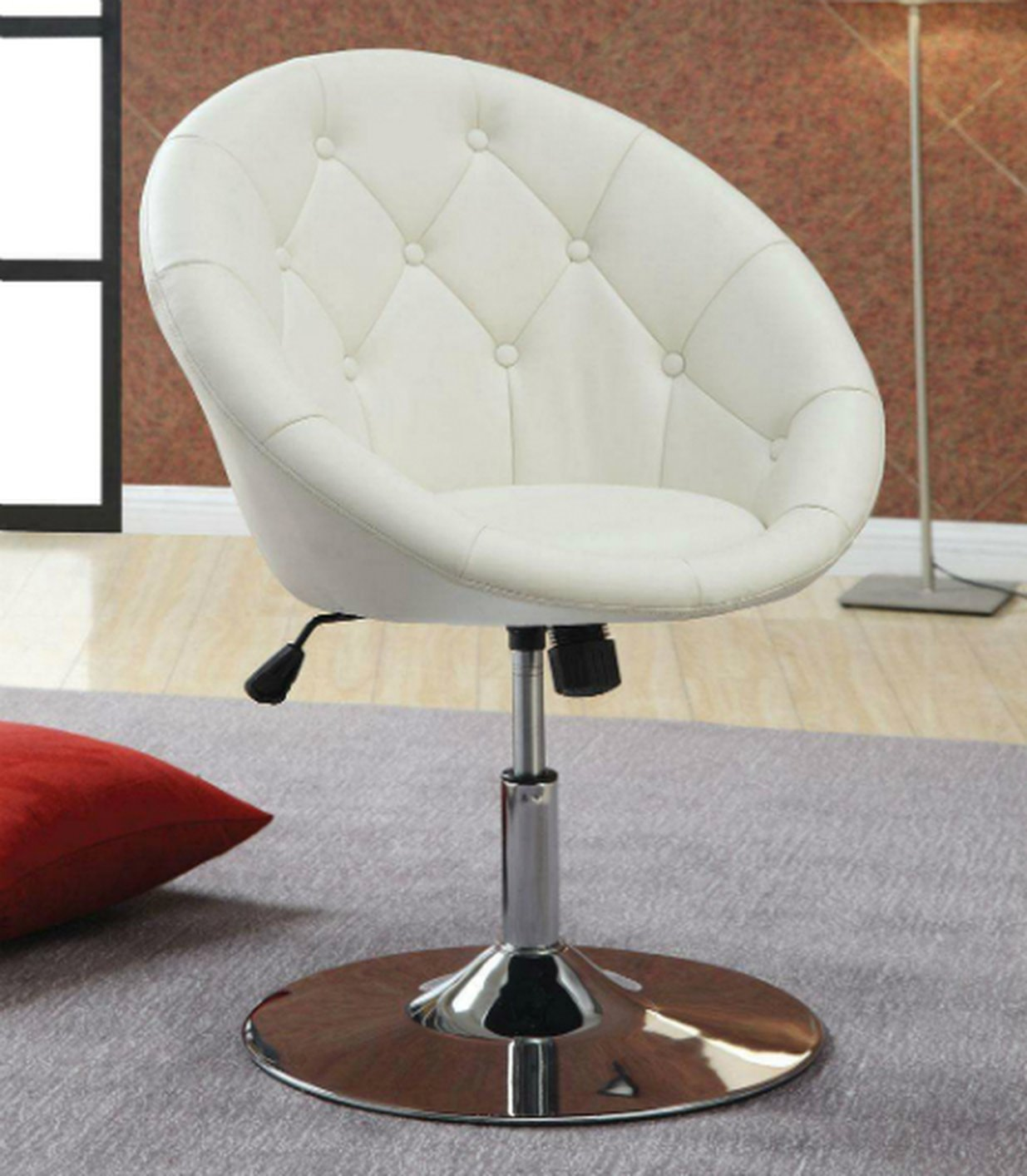 Coaster 102583 white leather swivel chair steal a sofa for White leather sofa and chair