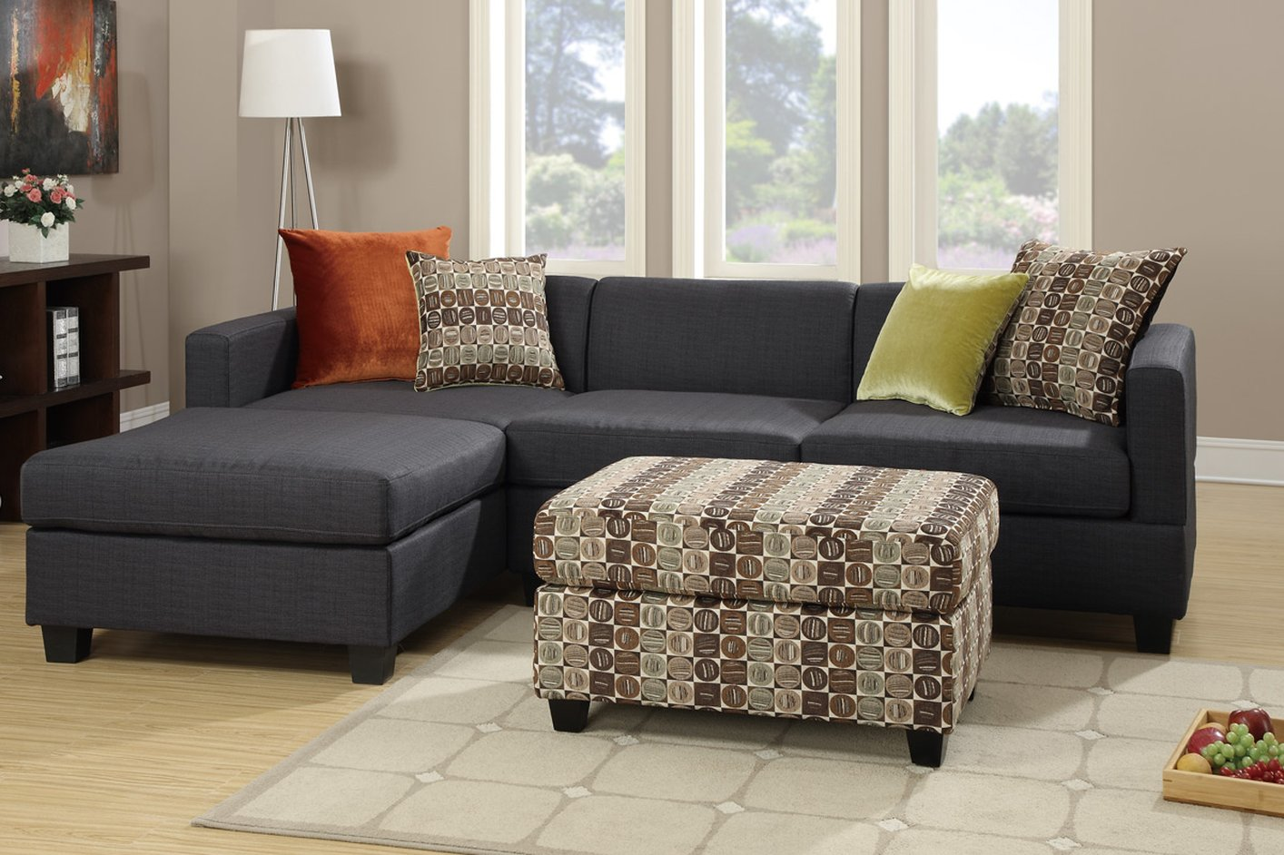 Poundex maribel f7170 black fabric sectional sofa steal for Furniture 90036