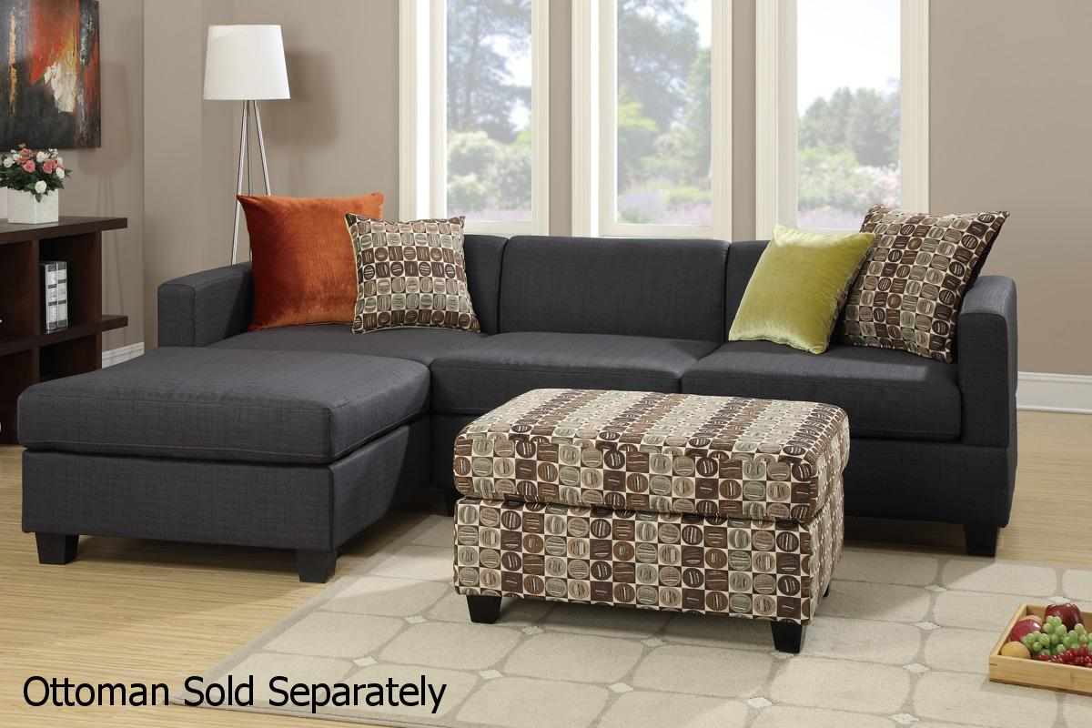 Poundex maribel f7170 black fabric sectional sofa steal for Black fabric couches