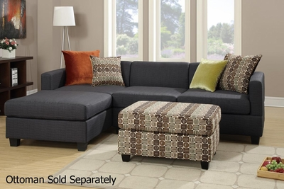 Maribel Black Fabric Sectional Sofa