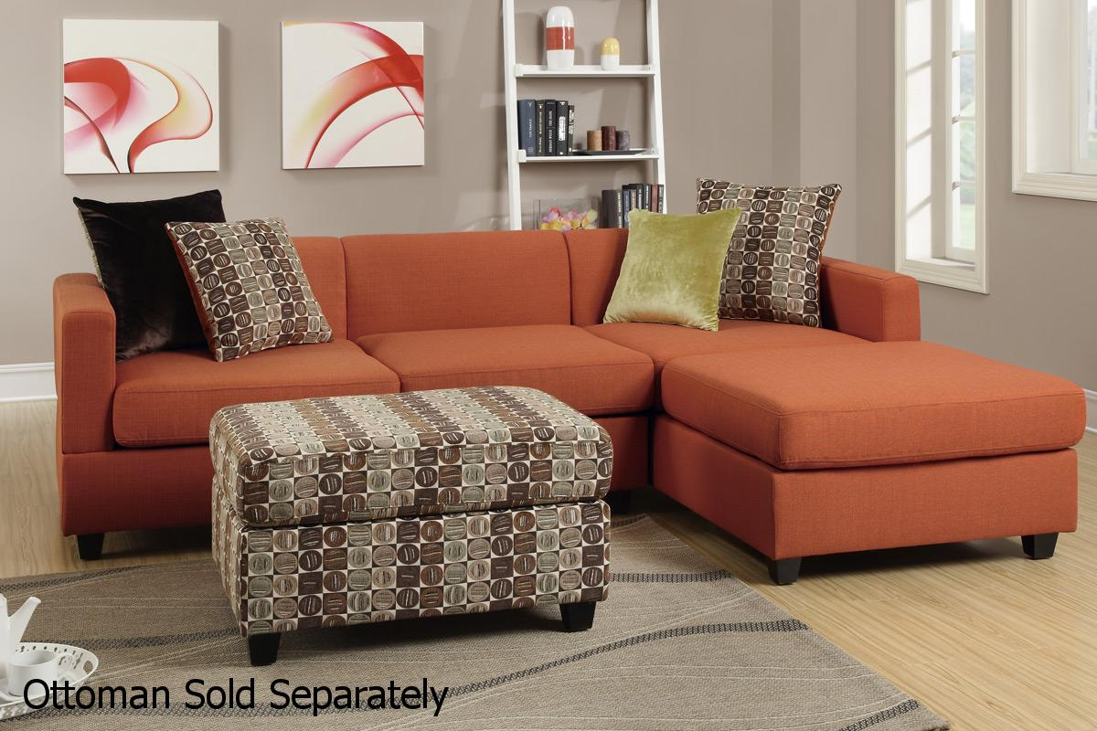 Maribel Orange Fabric Sectional Sofa : orange sectional sofa - Sectionals, Sofas & Couches