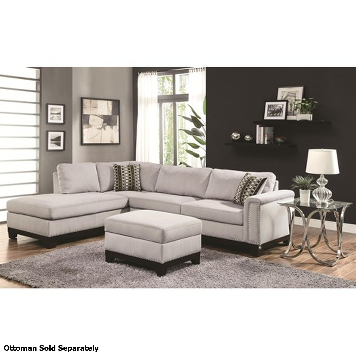 Coaster mason 503615 grey fabric sectional sofa steal a - Sofa gris como pintar las paredes ...
