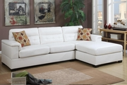 McGregor White Leather Sectional Sofa