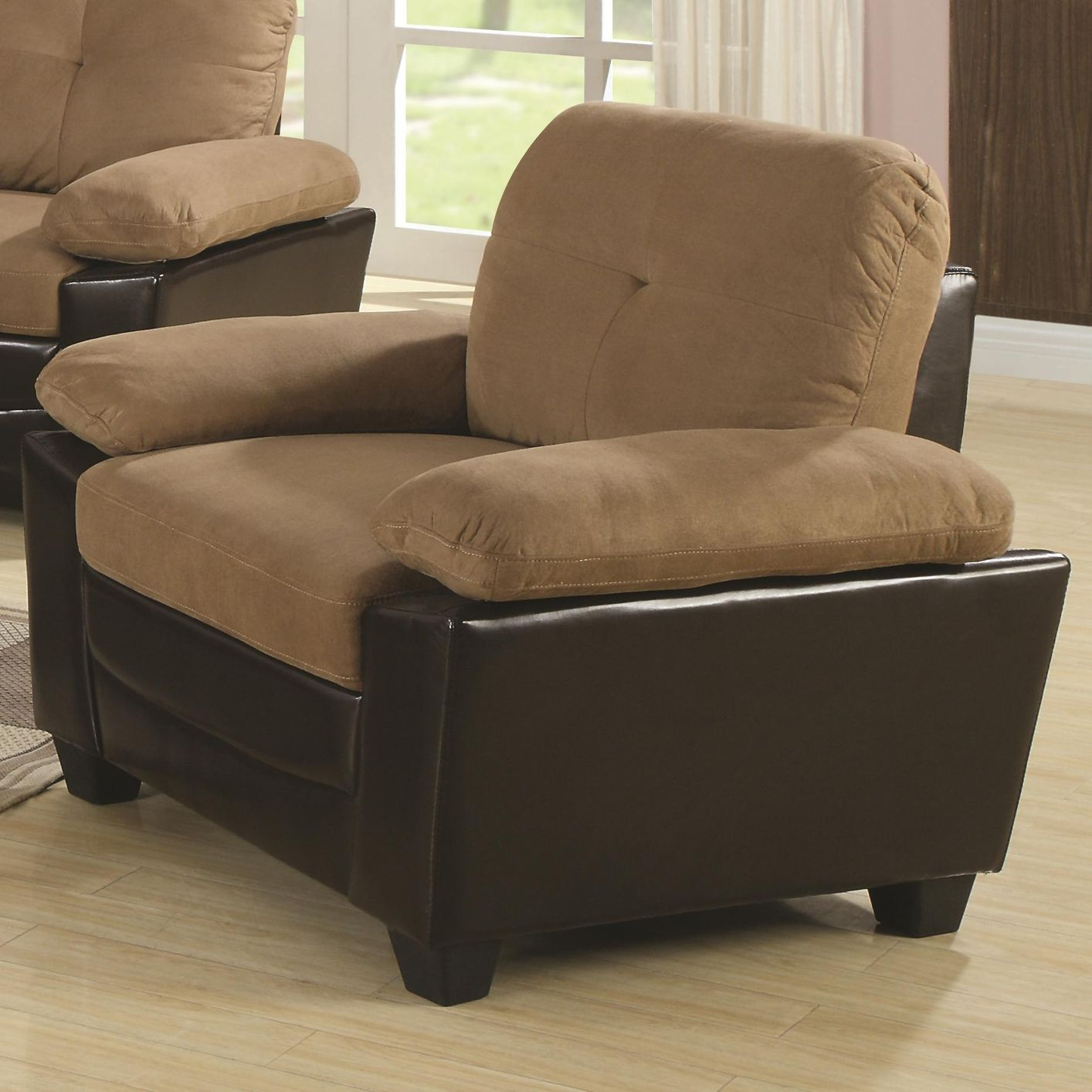 Mika Beige Microfiber Chair Steal A Sofa Furniture Outlet Los