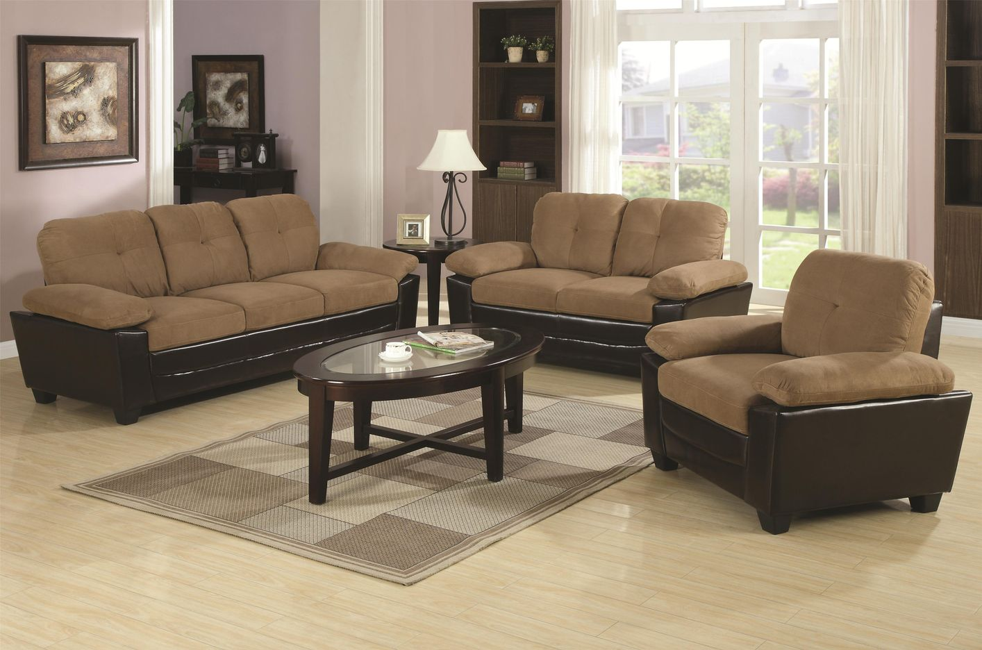 Coaster mika 502921 502922 brown microfiber sofa and loveseat set in los angeles ca for Microsuede living room furniture