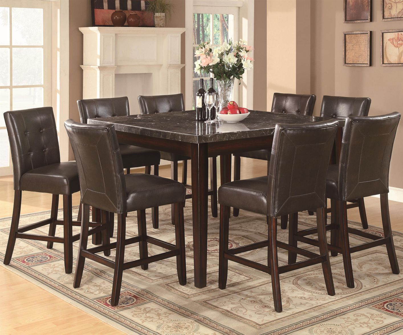 Milton Cappuccino Wood And Marble Pub Table Set