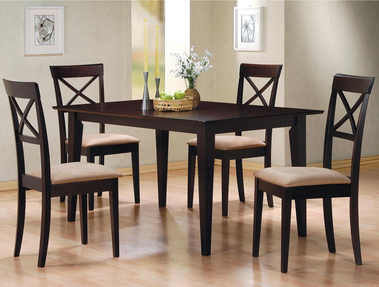 Miranda Cross Cappuccino Wood Dining Table Set Steal A