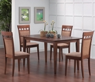 Miranda Cushion Warm Walnut Wood Dining Table Set