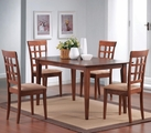 Miranda Wheat Warm Walnut Wood Dining Table Set