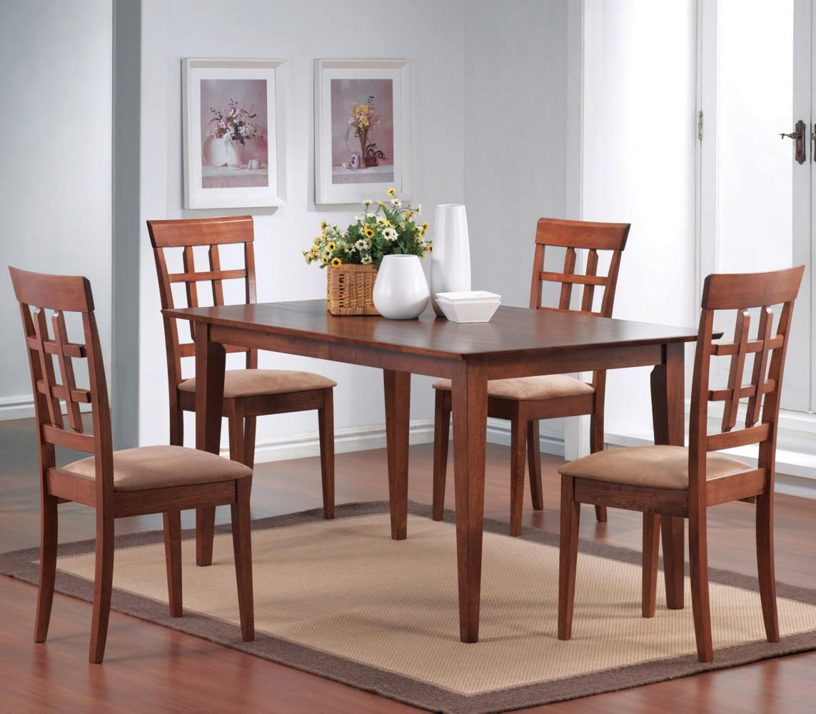 Miranda Wheat Warm Walnut Wood Dining Table Set Steal A