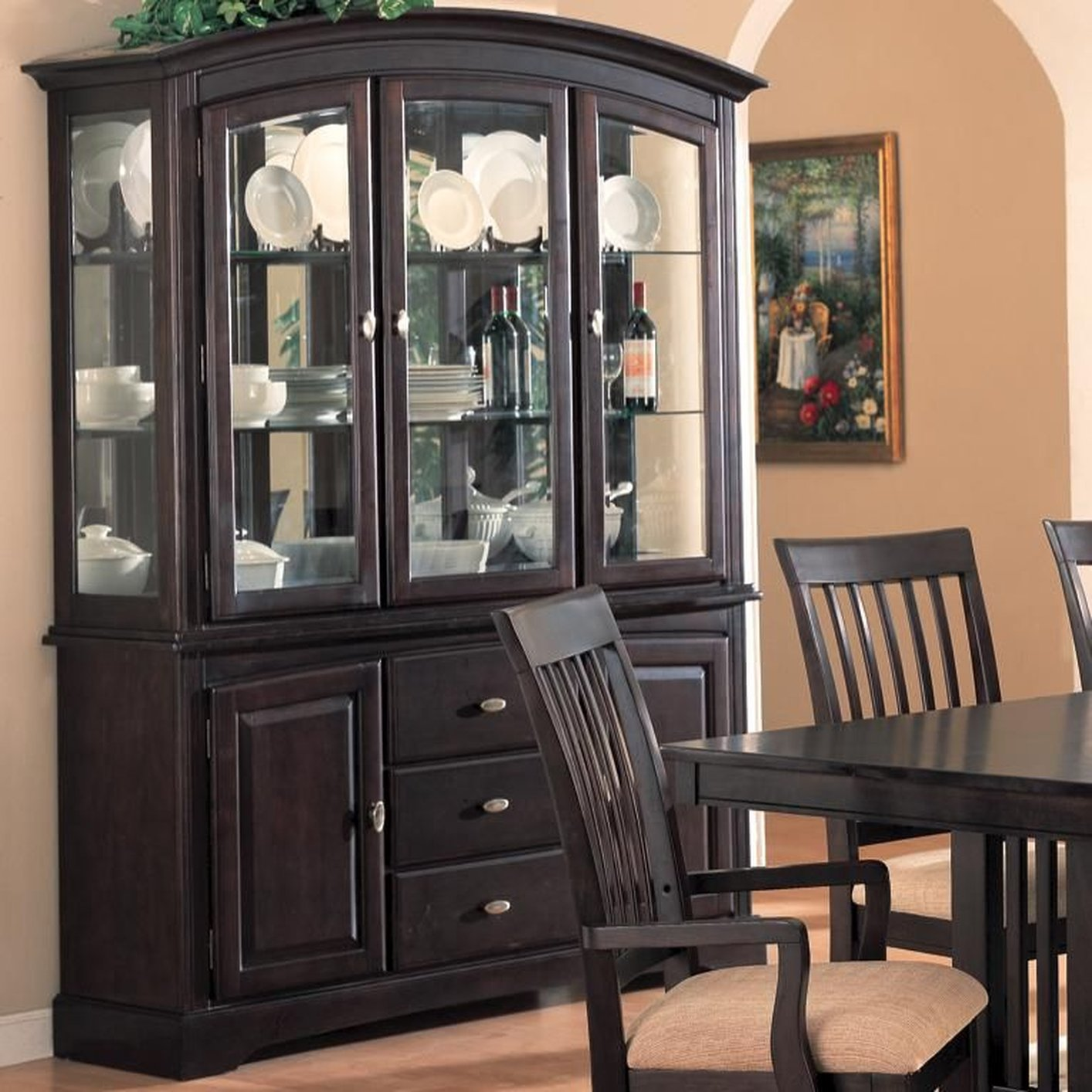 Superb Brown Glass Buffet Hutch