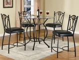 Monroe Black Metal And Glass Pub Table Set