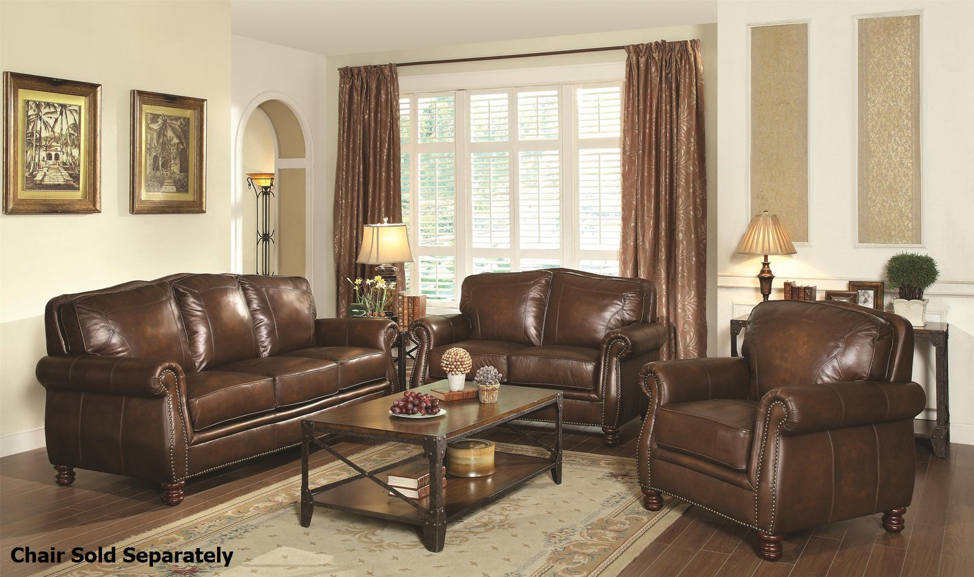 Coaster montbrook 503981 503982 brown leather sofa and for Traditional living room ideas with leather sofas