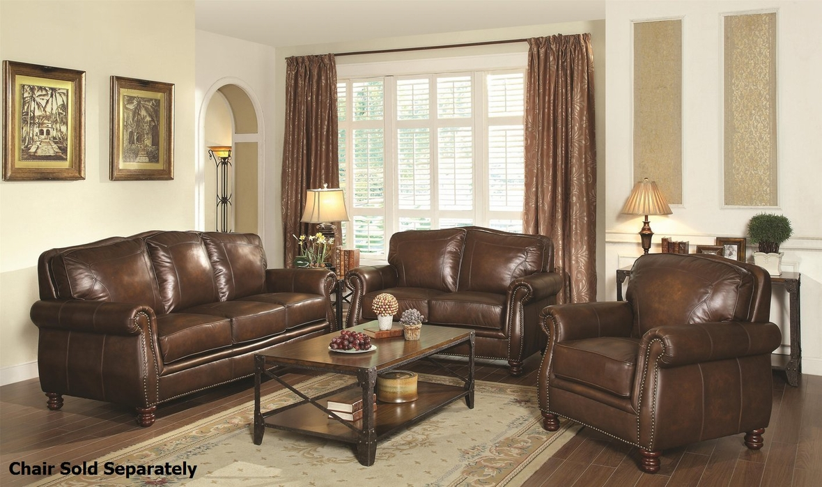 Montbrook Brown Leather Sofa And Loveseat Set Steal A