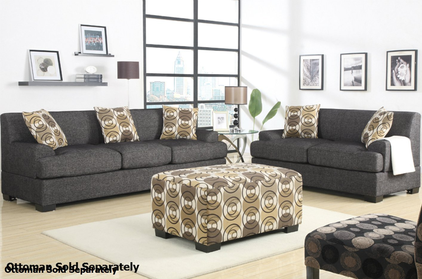 Poundex Montreal F7447 F7446 Grey Fabric Sofa And Loveseat: fabric sofas and loveseats