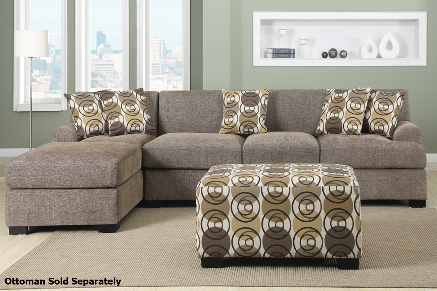 Genial Montreal III Beige Fabric Sectional Sofa