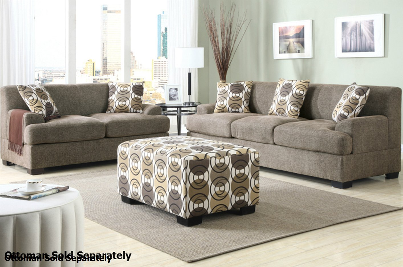 Poundex montreal f7450 f7449 beige fabric sofa and for Couch sofa set