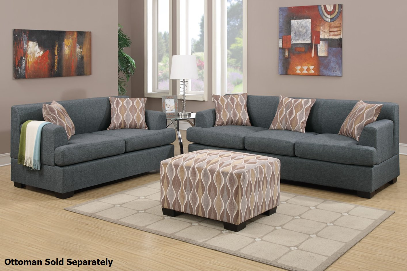 Poundex montreal f7973 f7972 grey fabric sofa and loveseat for Couch and loveseat