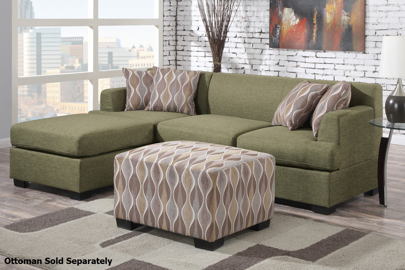 Montreal Ii Green Fabric Sectional Sofa