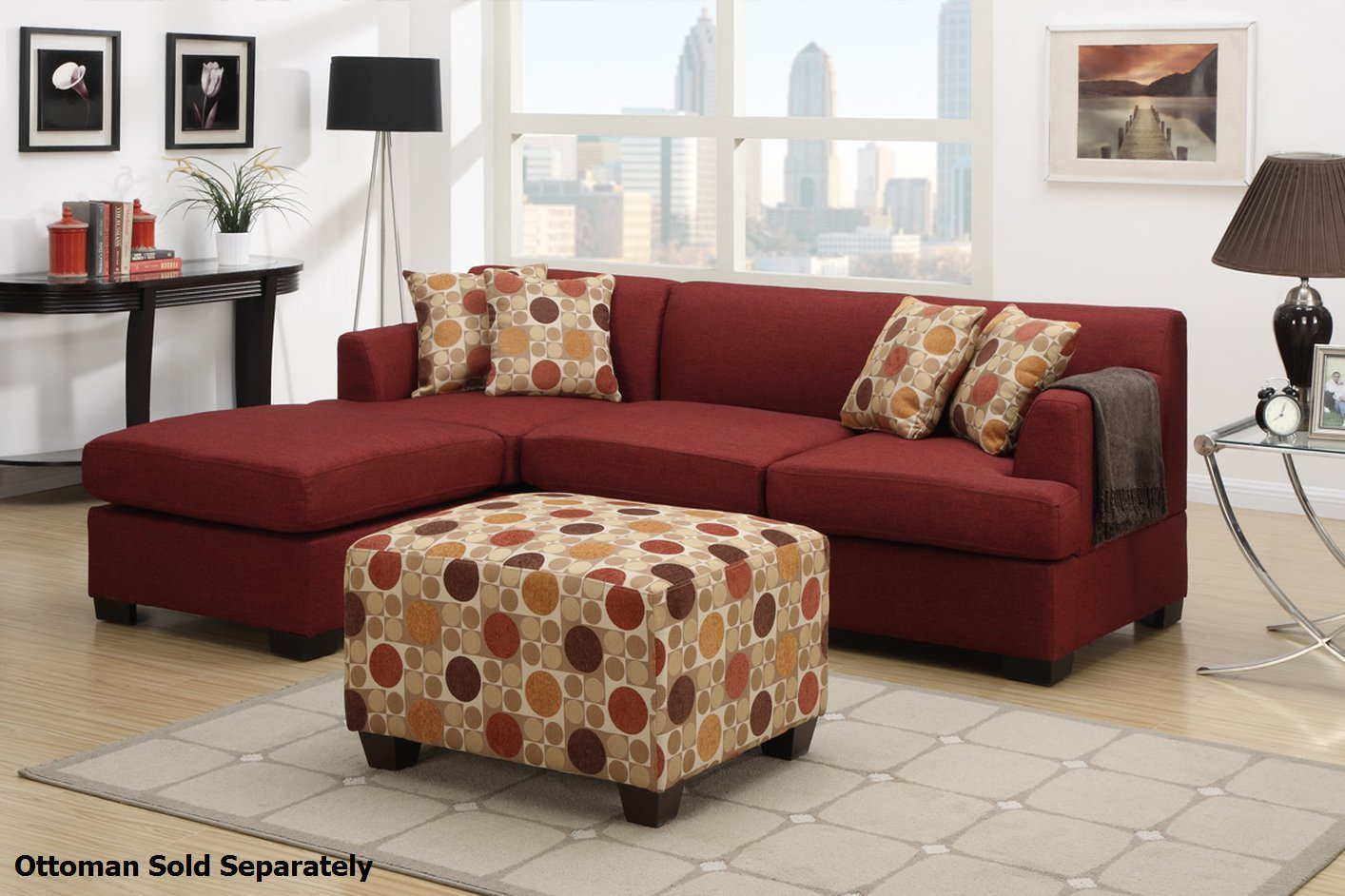 Montreal ii red fabric sectional sofa steal a sofa for Furniture 90036