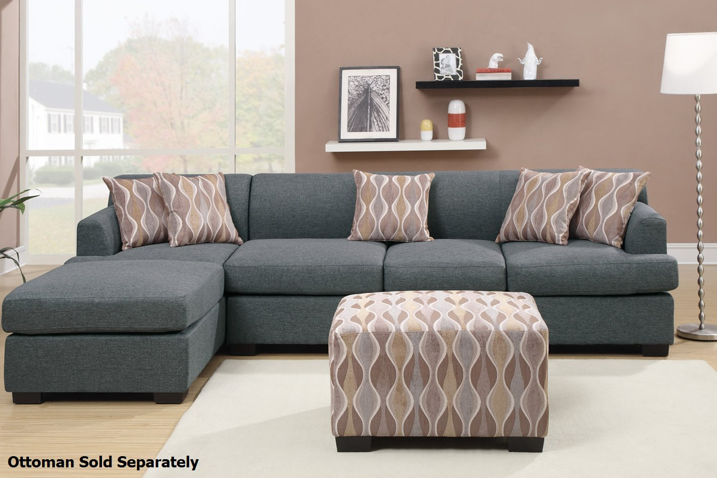 Montreal Iii Grey Fabric Sectional Sofa Steal A Sofa