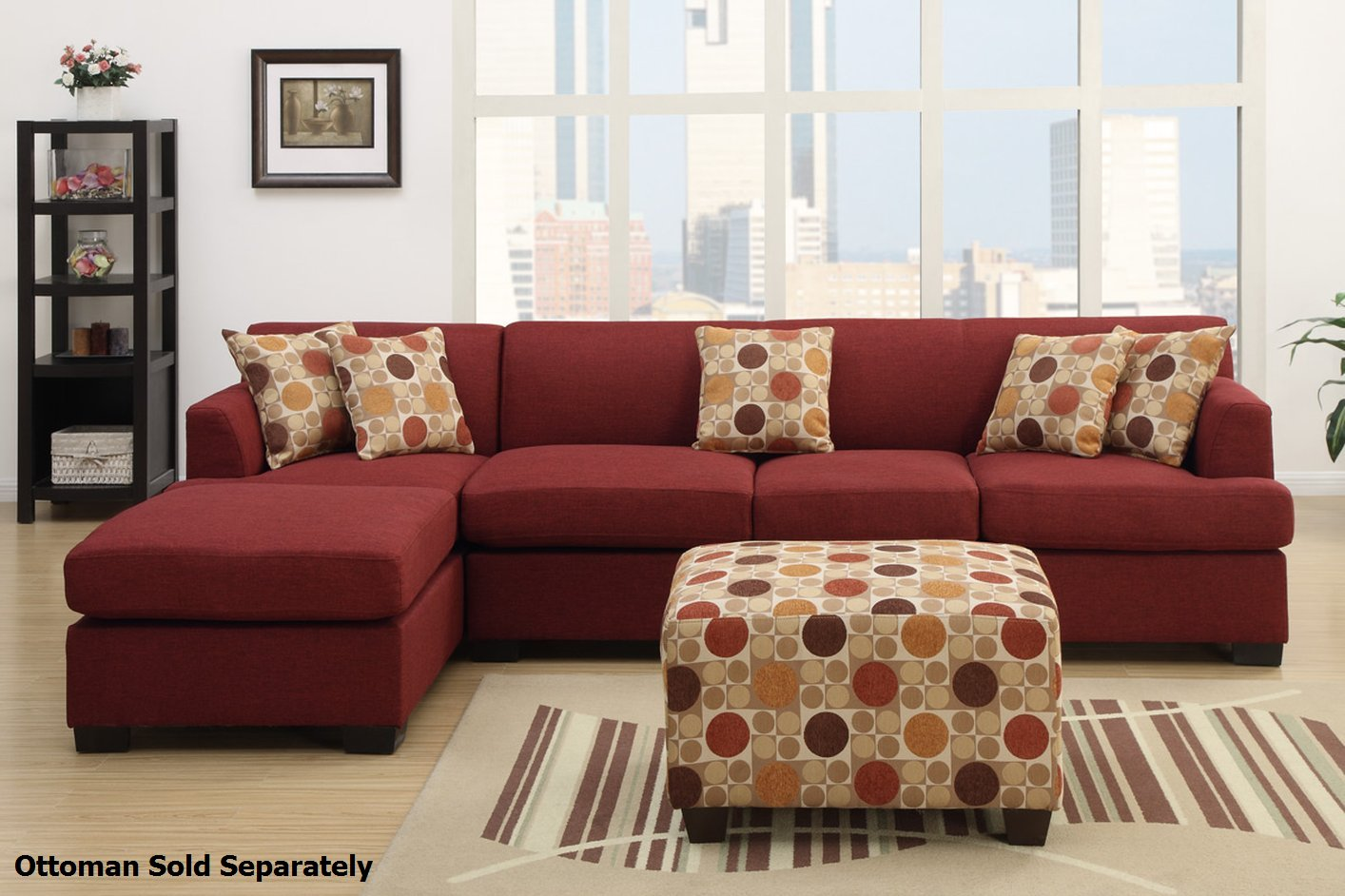 Montreal III Red Fabric Sectional Sofa - Steal-A-Sofa Furniture ...