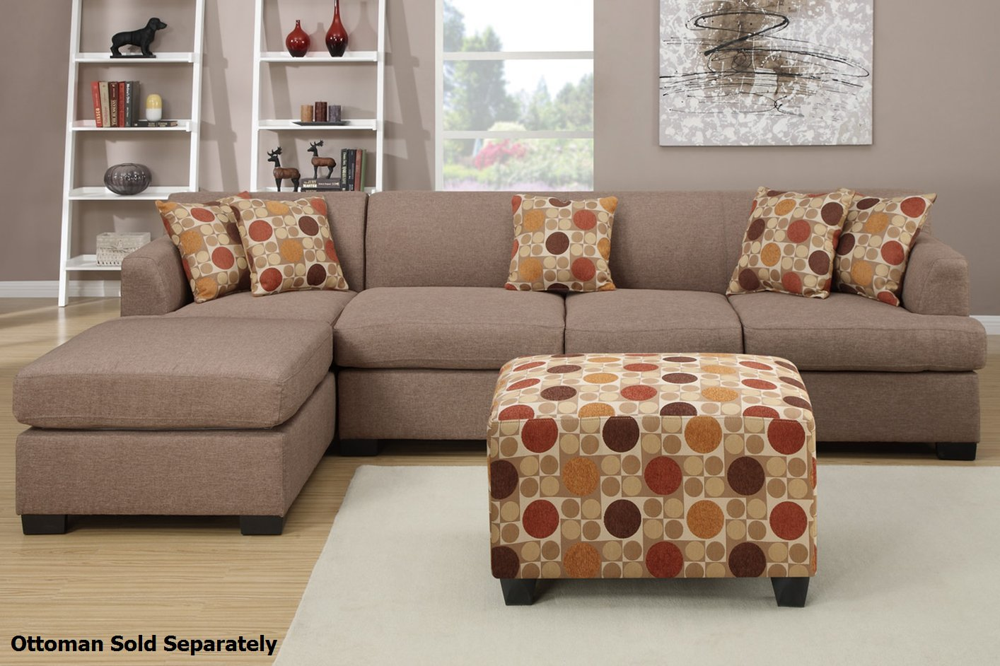 Poundex Montreal III F7966 F7968 Beige Fabric Sectional Sofa ...