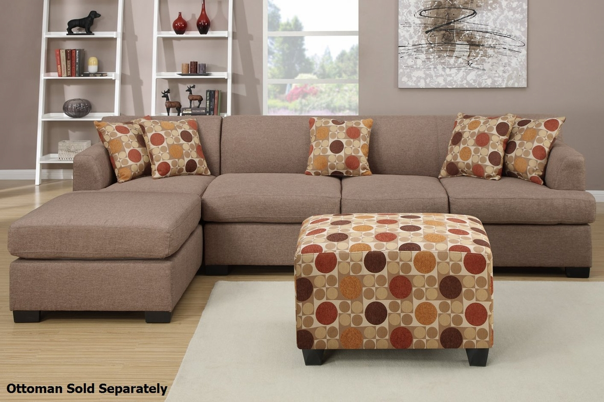 Modern beige brown fabric sectional sofa and chair with for Chaise moderne montreal