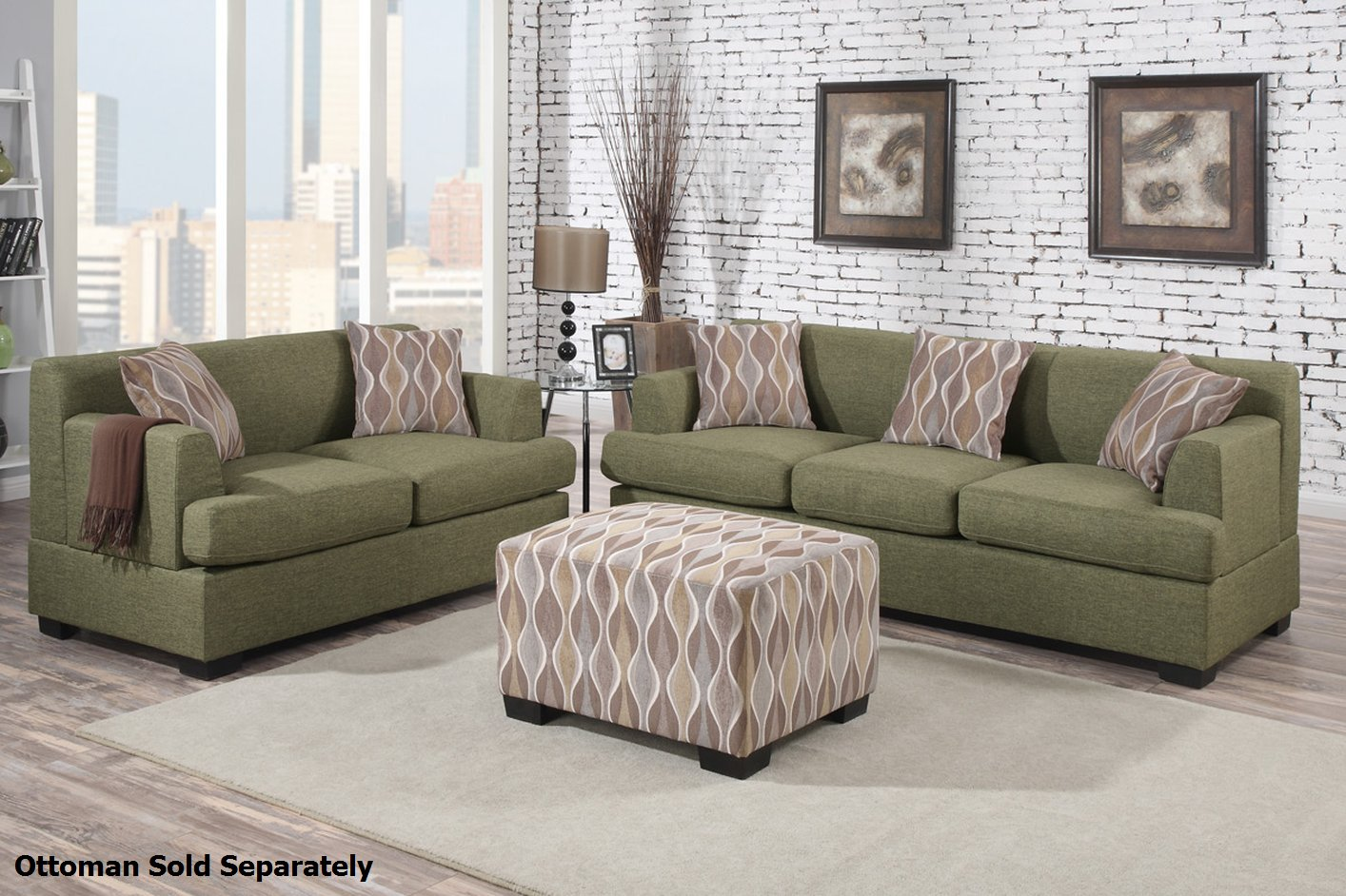 Montreal green fabric sofa and loveseat set steal a sofa for Couch sofa set