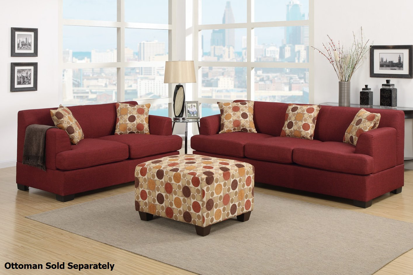 Poundex montreal f7963 f7962 red fabric sofa and loveseat set steal a sofa furniture outlet Red sofas and loveseats