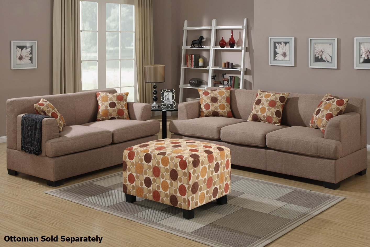 Poundex montreal f7968 f7967 beige fabric sofa and for Sofa and loveseat set