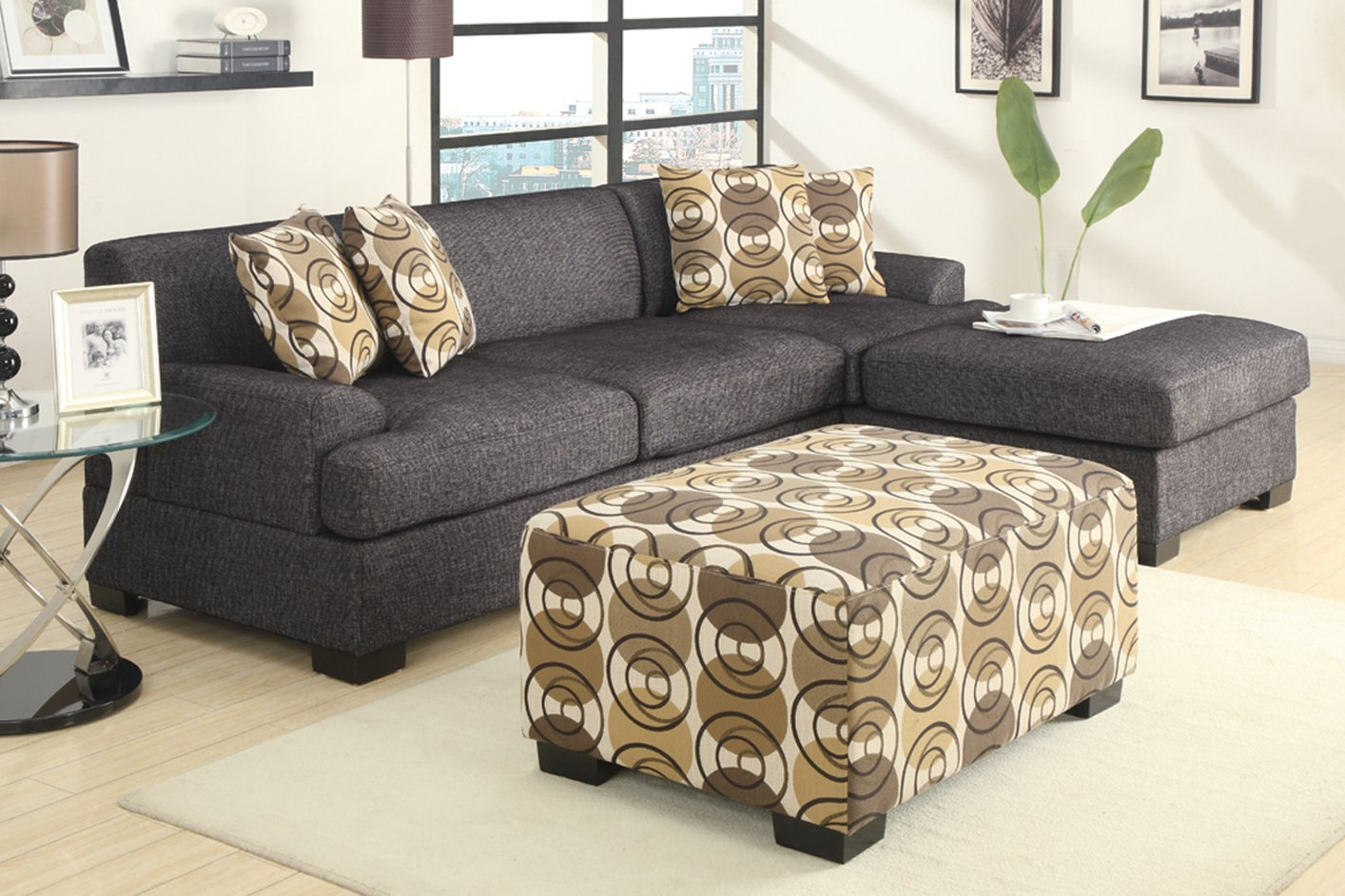 ... Montreal V Grey Fabric Loveseat ... : loveseat sectional sofa - Sectionals, Sofas & Couches