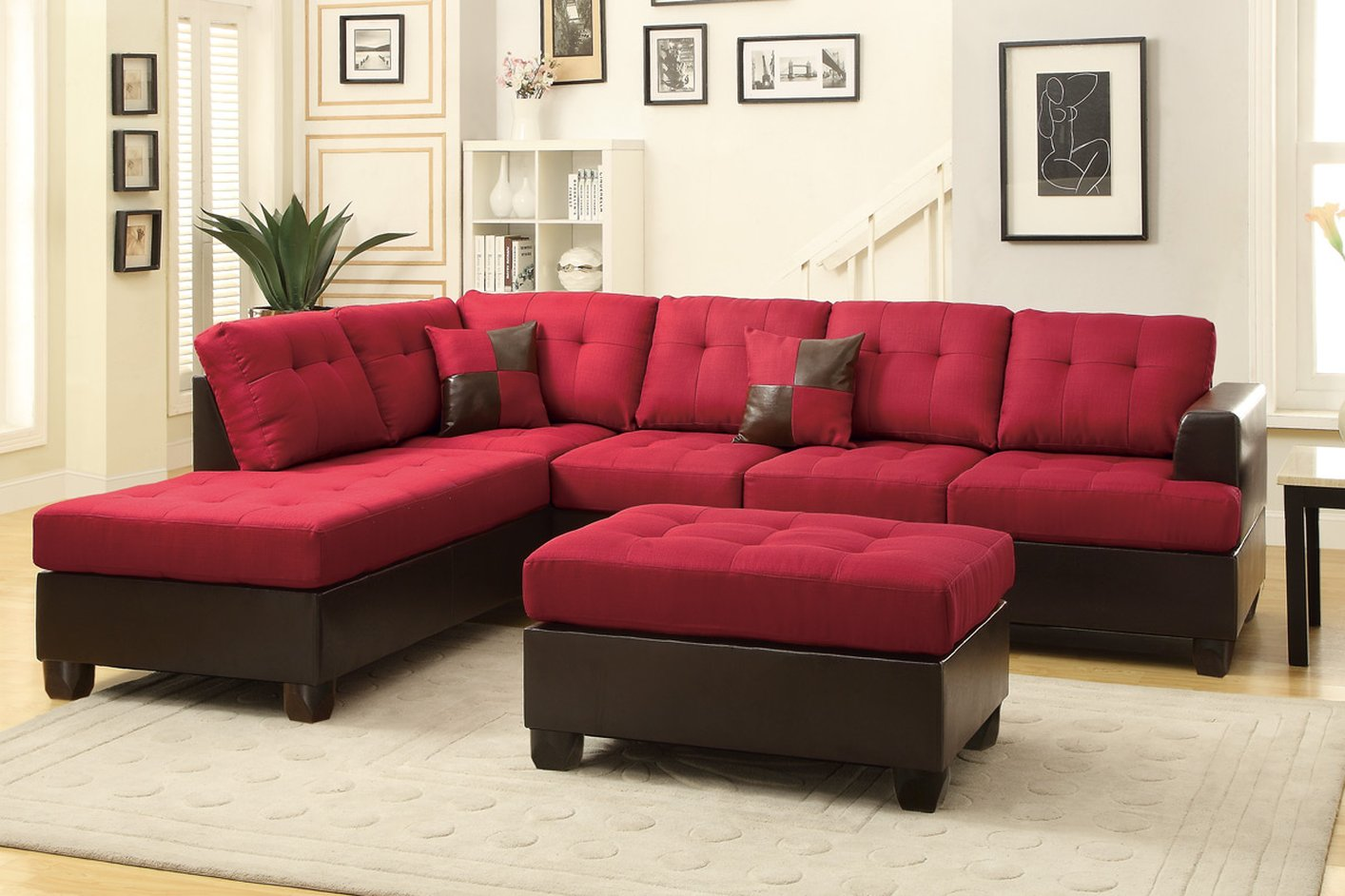 Poundex moss f7601 red fabric sectional sofa and ottoman for 2 piece red sectional sofa