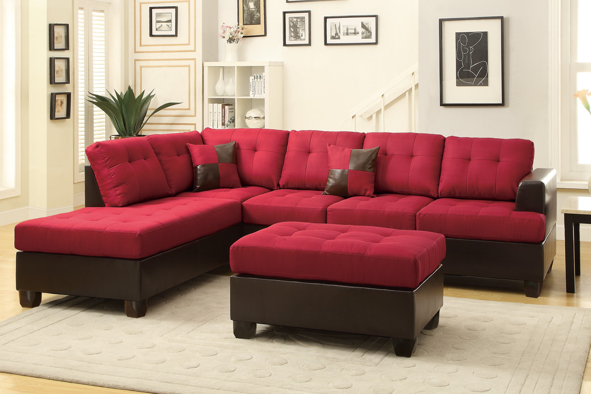 Poundex moss f7601 red leather sectional sofa and ottoman for Red leather sectional sofa with ottoman
