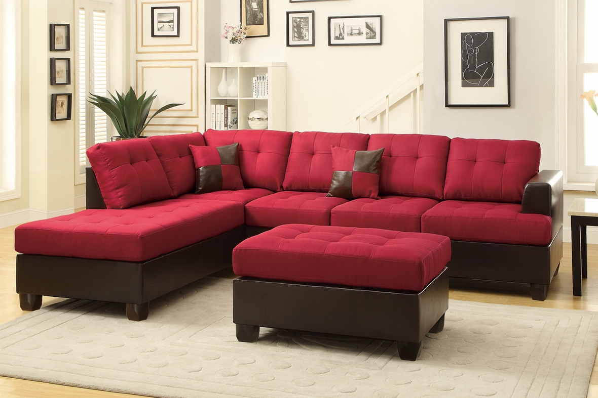 Moss Red Leather Sectional Sofa and Ottoman : sectional sofas with ottoman - Sectionals, Sofas & Couches