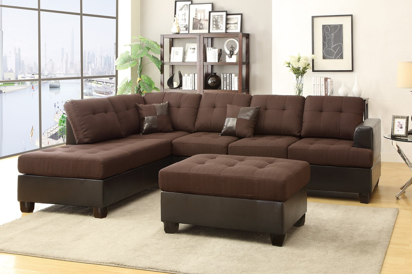 Poundex Moss F7602 Brown Fabric Sectional Sofa And Ottoman Steal A Sofa Furniture Outlet Los