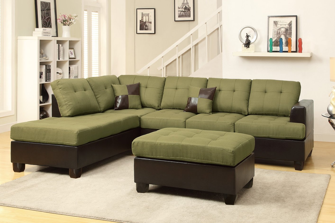 Poundex Moss F7604 Green Fabric Sectional Sofa And Ottoman Steal A Sofa Furniture Outlet Los
