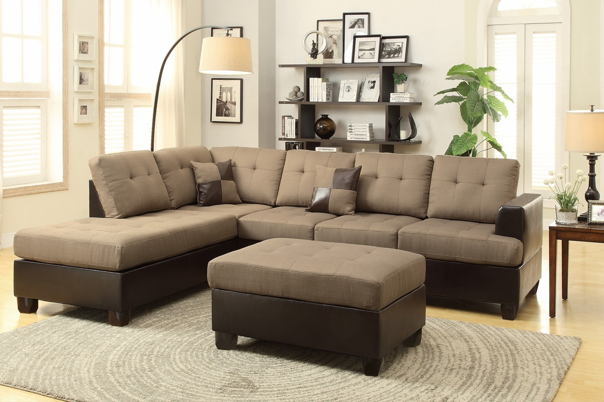 Moss Brown Leather Sectional Sofa and Ottoman : brown sectional with ottoman - Sectionals, Sofas & Couches