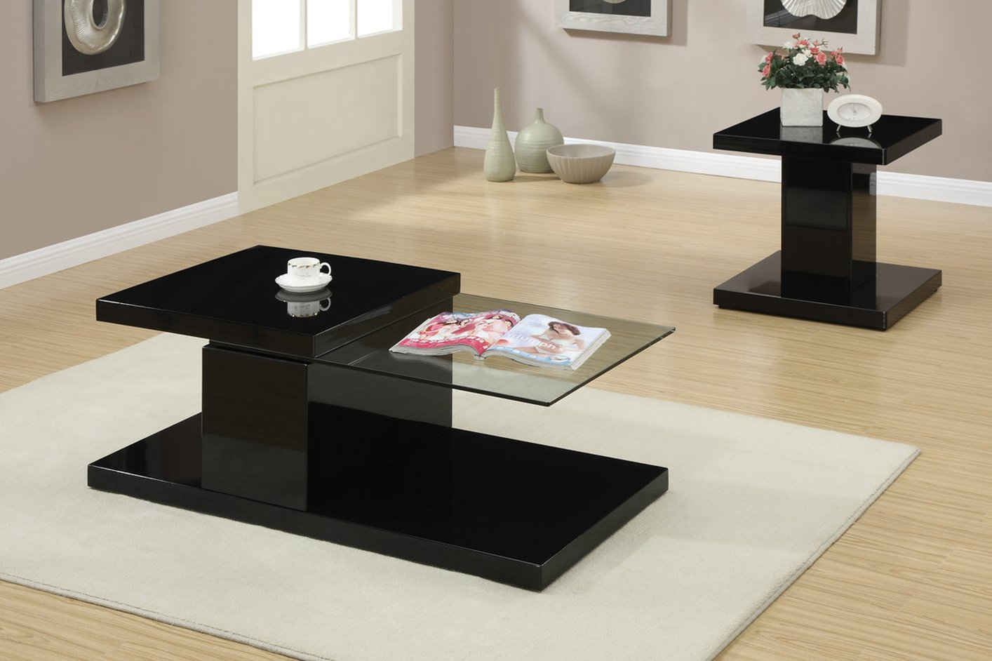 Myriad Black Glass Coffee Table - Steal-A-Sofa Furniture Outlet Los ...