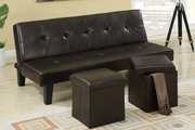 Nash Black Bonded Leather Futon