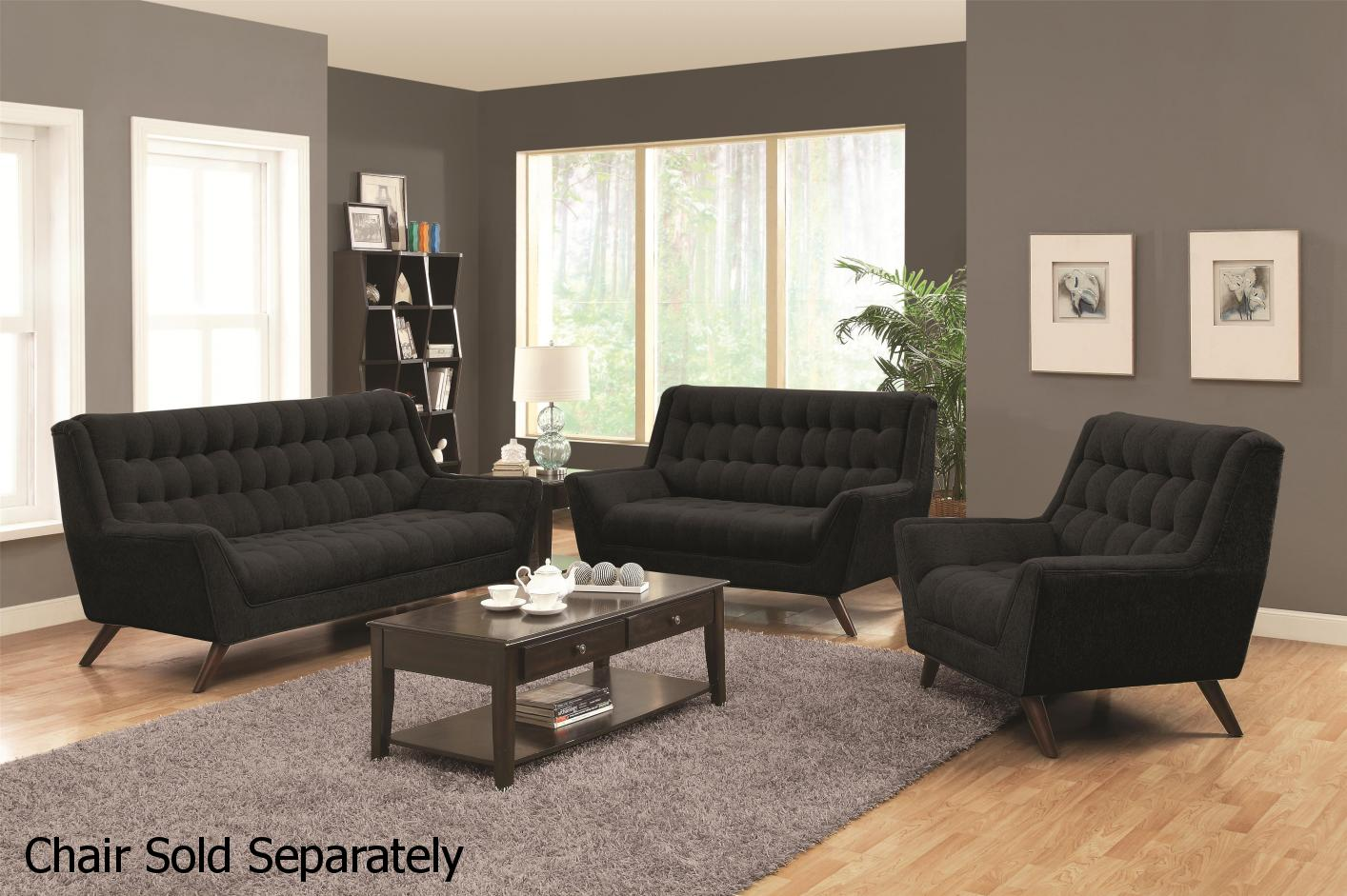 Natalia black fabric sofa and loveseat set steal a sofa for Black fabric couches