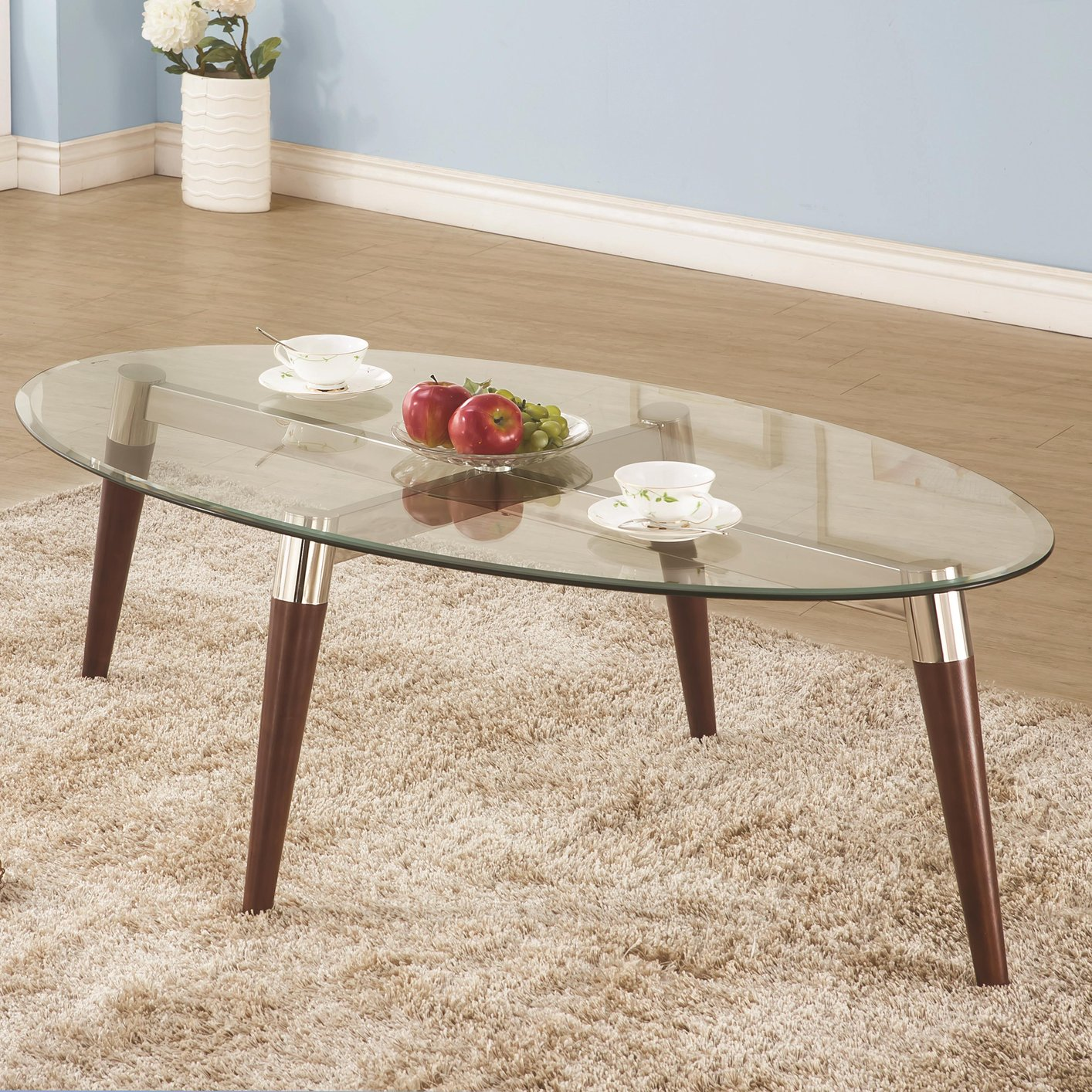 Merveilleux Natalia Brown Glass Coffee Table