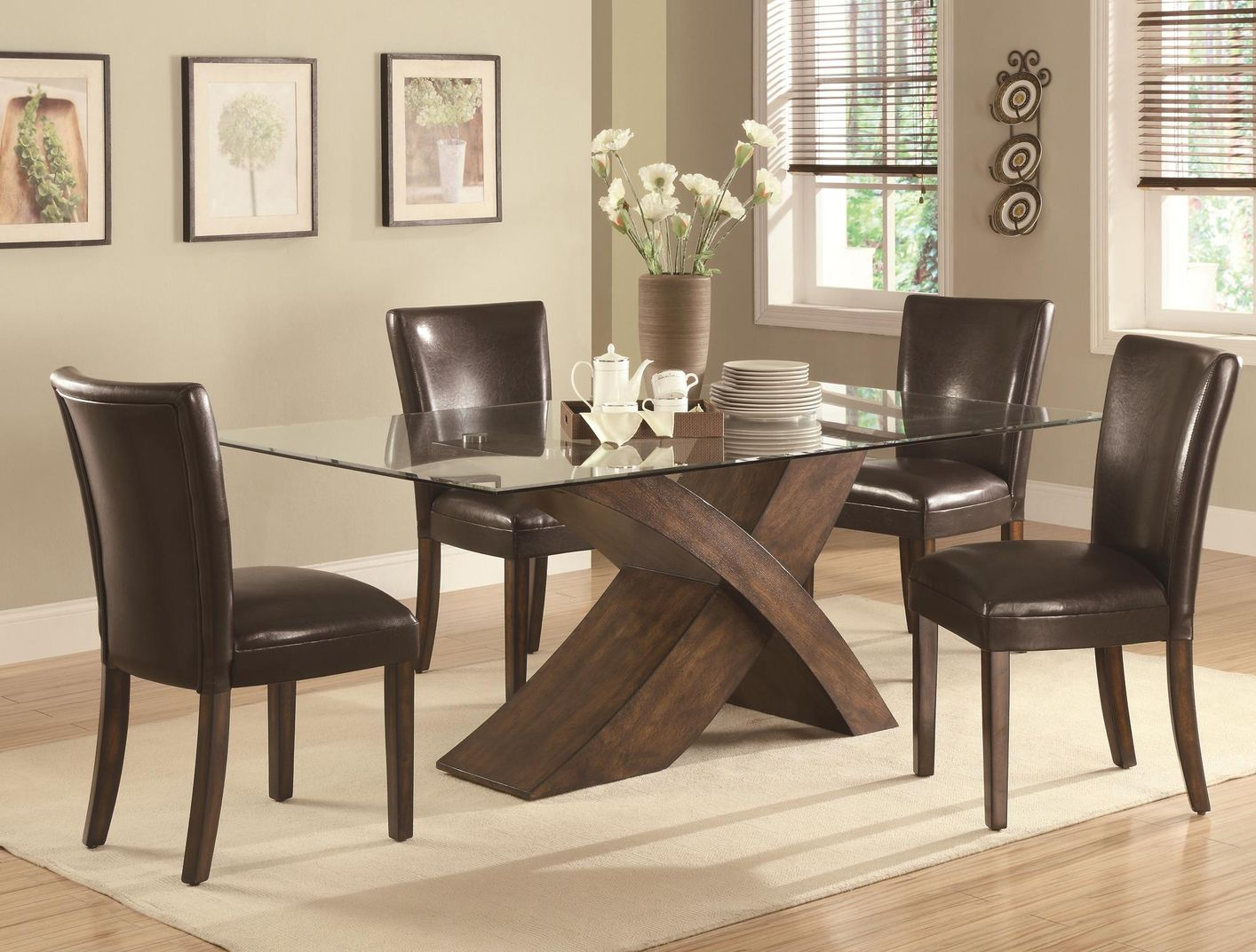 Nessa deep brown wood and glass dining table set steal a for Small casual dining sets