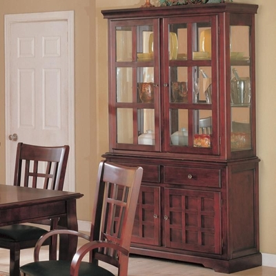 Brown Wood Buffet Hutch