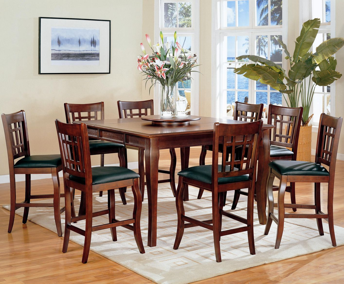Attractive Newhouse Warm Cherry Wood Pub Table Set