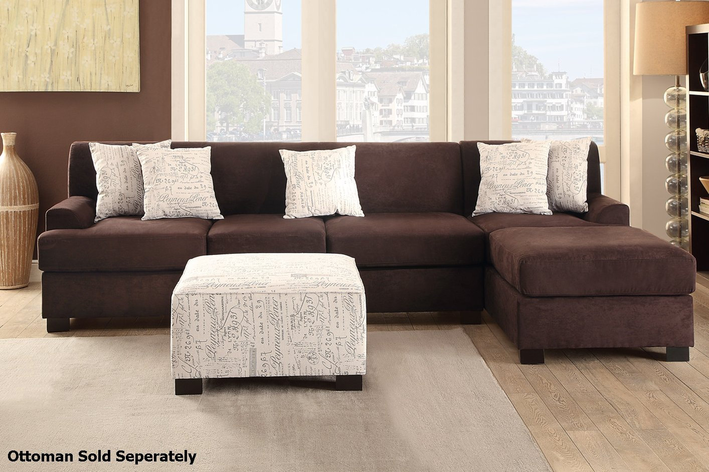 Brown Fabric Sectional Sofa - Steal-A-Sofa Furniture ...
