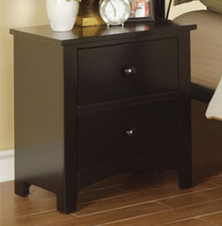 Poundex f4236 black wood nightstand steal a sofa for Black wood nightstand